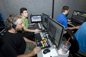 SJU-TV's new 20-ft. HD production trailer is large enough to seat nine or 10 people comfortably.