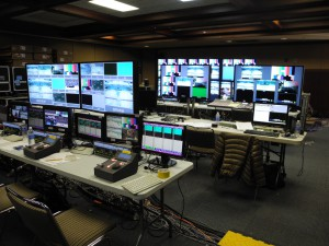 The ESPN production facility for the basketball game in South Korea is located in a ballroom in the base gym and features equipment supplied by CTV OB.