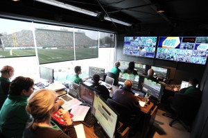 The control room at Mosaic Stadium houses two ZEPLAY replay systems.