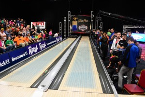 Blue dye lets viewers see the how oil is distributed on the lanes, shown at the 2013 PBA Cheetah Championship.