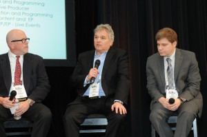 Time Warner Cable SportsNet's Larry Meyers emphasizes the importance of social media as Hurlbut (left) and NBC Sports Regional Network's Jon Slobotkin agree.