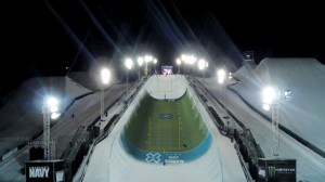 A 3D model of a football field overlaid on top of the SuperPipe course