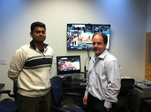 Nikhil Deshpande (left) and Jay DiGiovanni showed off the vast number of technology tools the team has created to serve ESPN's varied needs.