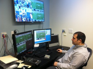 Emerging Technology engineer Gene Rossi demonstrates the different solutions the Hamilton team has created for football broadcasts, including field-goal–range and down-and-distance lines.