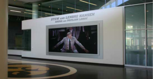 The Christie MicroTiles video wall is the focal point in the Carver-Hawkeye Arena lobby.