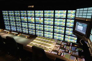 A massive monitor wall, with 144 total quad-split frames, is made possible by the sideways production-room layout on Amazin'.