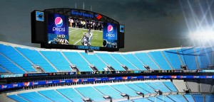 Daktronics design for the Carolina Panthers features a unique set of two 360-degree ribbon displays.