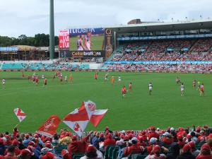 Sydney Cricket Ground features a Daktronics 15HD LED video display that measures approximately 36 feet high by 81.5 feet wide.