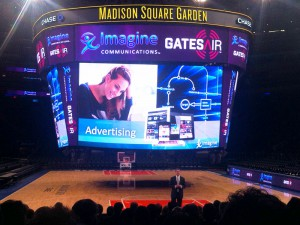 Harris Broadcast President/CEO Charlie Vogt announces the company's plans to split into Imagine Communications and GatesAir during a media event at Madison Square Garden