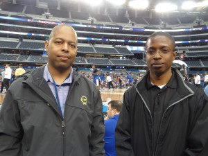 L to R: Turner Sports' senior director Renardo Lowe is directing the Teamcast productions on TNT, while Turner's Director of Technical Operations Chris Brown is helping oversee the complex production.