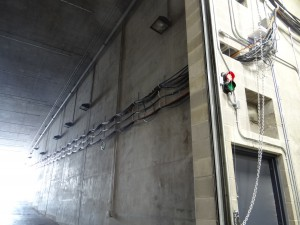 Nearly 50 fiber lines were run up an exit ramp to connect each of the two compounds.
