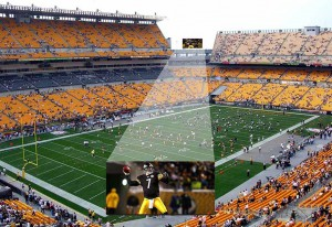 A new Daktronics display at Heinz Field will feature a 13HD pixel layout and measure approximately 35 feet high by 72 feet wide.