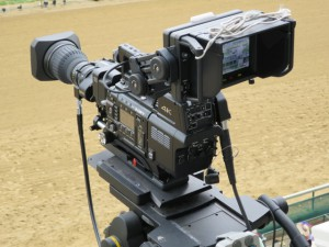 The Sony F55-PMW 4K camera located above the finish line at Churchill Downs.
