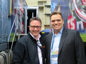 Brian Clark (left) of Visions with Mike Davies of Fox Sports at the Champions League FInal.