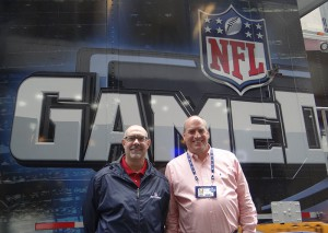 NFL Network's Adam Acone (left) and Dave Shaw outside the Game Creek Glory truck at Radio City.