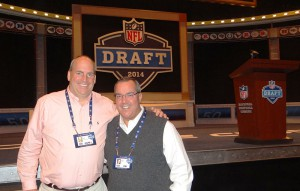 NFL Network's Dave Shaw (left) and Glenn Adamo stage-side inside Radio City