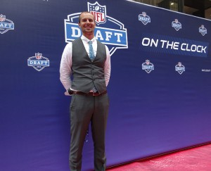 NFL Network's Ben Simms on hand at the Draft Red Carpet set under the Radio City marquee