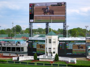Overlooking the backstretch, Churchill Downs' Panasonic 4K videoboard has a 15,224-sq.-ft. active display area.