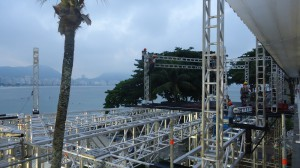 Workers put finishing touches on the ESPN World Cup set on Copacabana Beach in Rio.