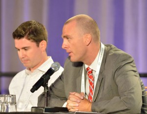 Kurt Svoboda (right) discussed the importance of analytics and user data in proving ROI on investment for video-production facilities.
