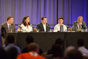 SVG College Sports Summit panel: (from left) OU's Brandon Meier, USF's Katie Morgan, St. John's' Mark Fratto, UF's Jon Rubin, and Stanford's Kurt Svoboda