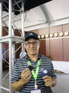 Louis Libin on site at the U.S. Open with a new VHF-based wireless audio system.