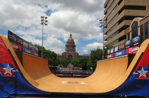 X Games located its Vert ramp competition in downtown Austin in front of the Texas capital.