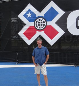 Steve Raymond, associate director, event operations, ESPN, at the Big Air ramp