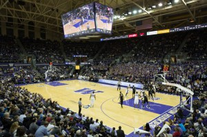 As part of the renovation process, Alaska Airlines Arena received new video boards, including a center-hung display.
