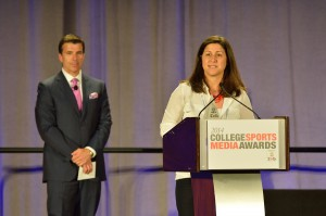 Morgan accepted the award for Outstanding Program Series in the Collegiate Athletics division at the SVG/NACDA College Sports Media Awards in May.