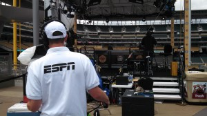 ESPN's Baseball Tonight set is erected on the concourse just over the right-field fence.