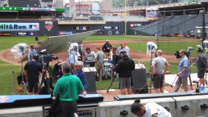 Fox Sports has erected this on-field set and another one inside Target Field for tonight's 86th MLB All-Star Game.