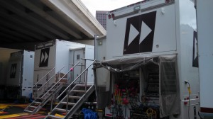 In the compound, Fox Sports is working in Game Creek Video's FX, the network's top production truck.
