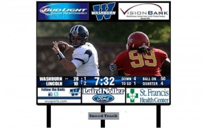 Washburn's new video board will measure approximately 19 feet high by 40 feet wide and will feature a 15HD pixel layout.