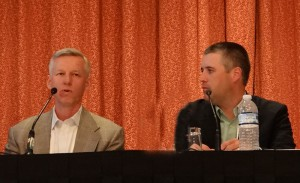 Sportvision's Mike Jakob (left, with STATS' Brian Kopp) preached the importance of keeping virtual graphics easy to understand by the viewer at home.