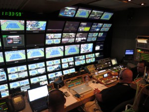 ESPN ITV's front bench in the NCP VIII production truck which is once again home to the production efforts.