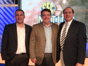 The SEC Nation brain trusts: (from left) Coordinating Producer Brett Austin, producer Joe Disney, and VP, Production, Bob Rauscher