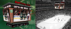 The new center-hung board at Xcel Energy Center features 10 LED video displays with the two main displays measuring approximately 19 feet high by 37.5 feet wide.