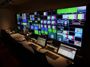 Inside the stadium's control room, integrated by Sony and Diversified Systems