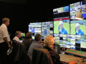 A look at the front bench in the NBC Sports Ryder Cup production area.