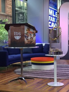 The World Series trophy made an appearance in the MLB Fan Cave for TBS's MLB Postseason Media Day.