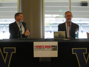 UW's Chip Lydum (right) was joined by Van Wagner's Robert Jordan to discuss the renovation of Husky Stadium.