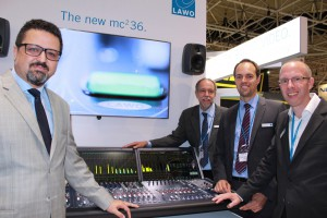 From left to right: PAL's Sami Sidhom with Lawo's Rainer Kunzi, Christian Struck, and Klaus-Jörg Jasper at IBC2014