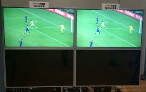 A side-by-side comparison of NHK's 8K World Cup footage illustrates the motion blur at 60 fps compared with 120 fps.