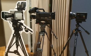 The trio of cameras used for NHK's 8K productions were supplied by (from left) Ikegami, Hitachi, and ASTRODESIGN, respectively.