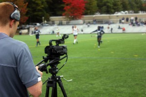 SNHU invested in HD production gear to live-stream events, including basketball, soccer, and field hockey (pictured).