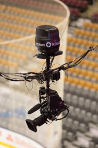 Sky Cam, installed on the 200 level of the venue, continuously follows the action on the ice.