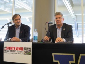 Portland Trailblazers' Mike James (left) and Seattle Seahawks' Chip Suttles discuss the in-venue experience.