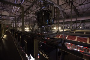 During the offseason, Quince Imaging installed 12 26,000-lumen projectors in the Prudential Center rafters.