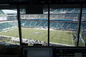 View from the Eagles' press-level control room